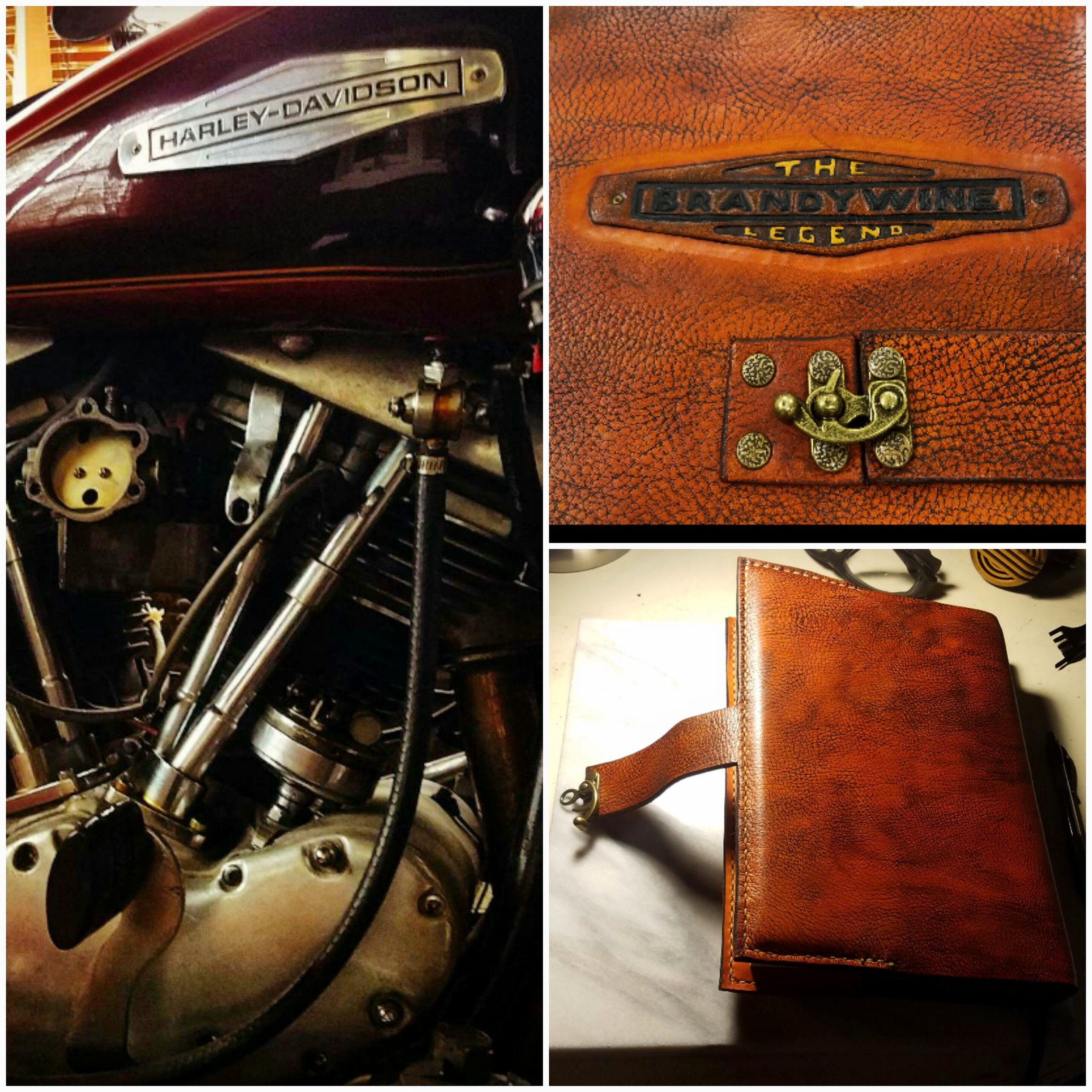 Handmade Leather-bound Road Journal for a 1966 Electra-glide named Brandywine