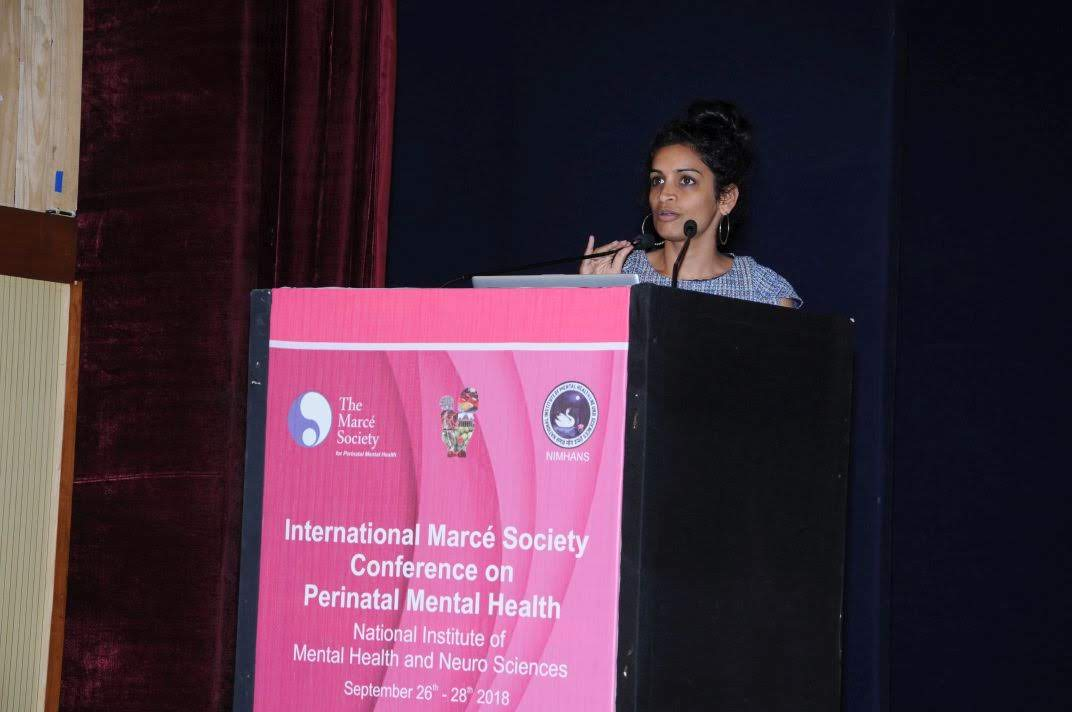 Presenting at the Marcé International Perinatal Mental Health Conference at the National Institute of Mental Health & Neurosciences in Bengaluru in September 2018.