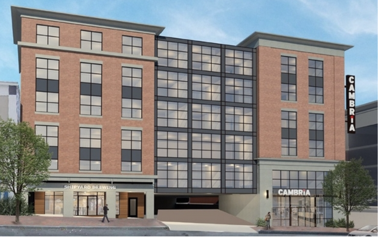 """COURTESY / CHOICE HOTELS INTERNATIONAL INC.  A rendering of the planned Cambria Hotel in Portland, slated to open in 2021. It will be a beer-themed """"brewtel"""" involving Shipyard Brewing Co."""