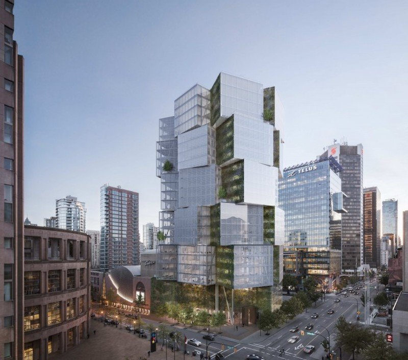 Artist rendering of 400 Georgia Street (and home to Apple Vancouver's office). Credit to  OSO/Merrick Architecture/Westbank .