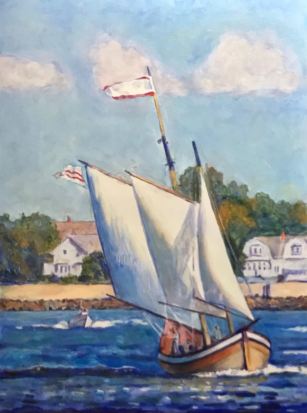 Schooner Sailing out of Salem Harbor