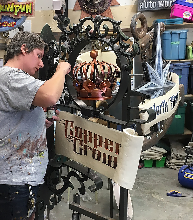 Becke Painting Copper Crown Sign