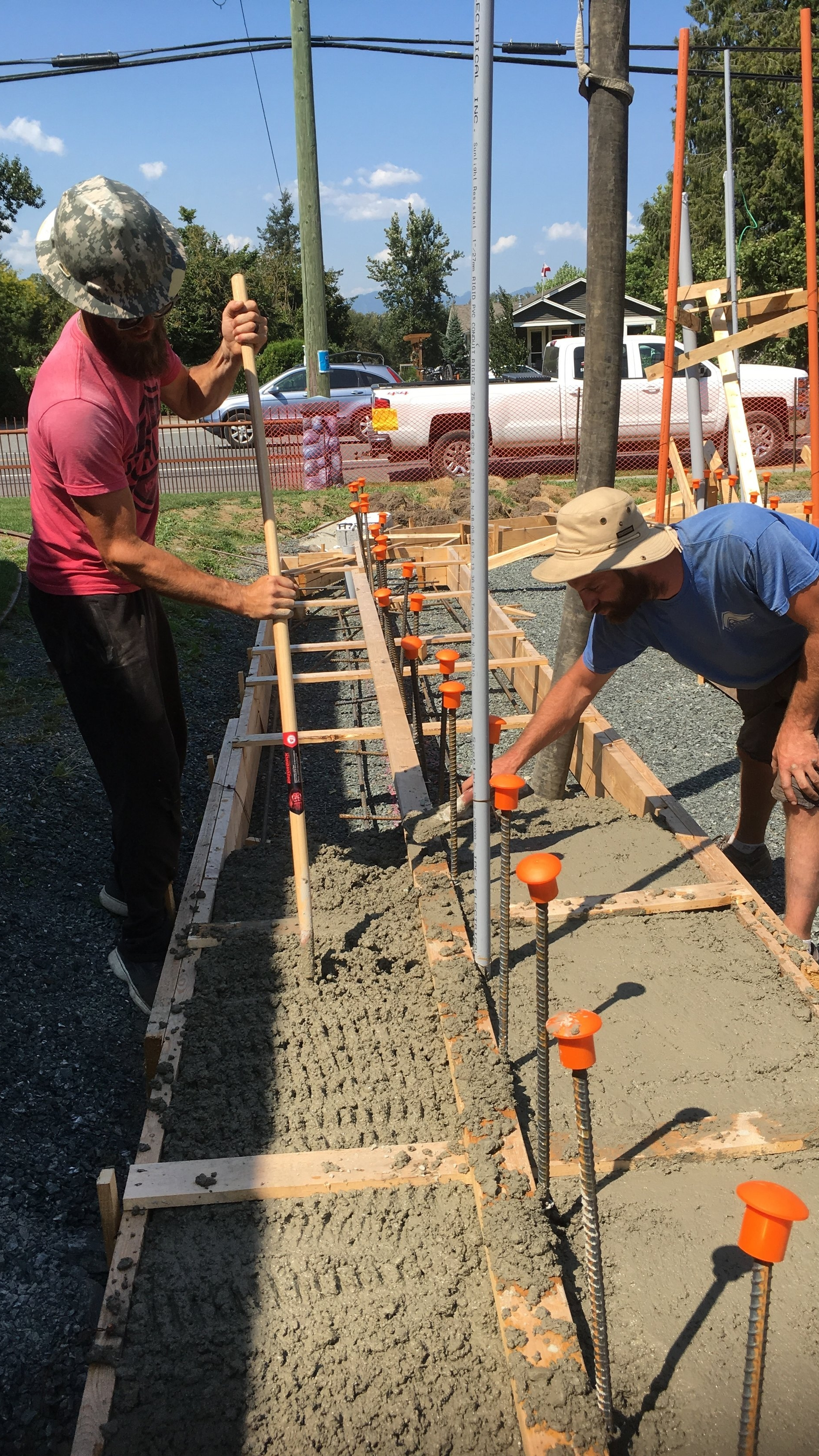 Pouring the footings