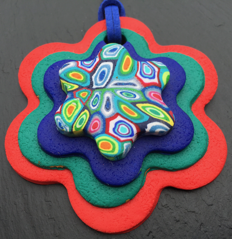 Red Psychedelic Flower Pendant