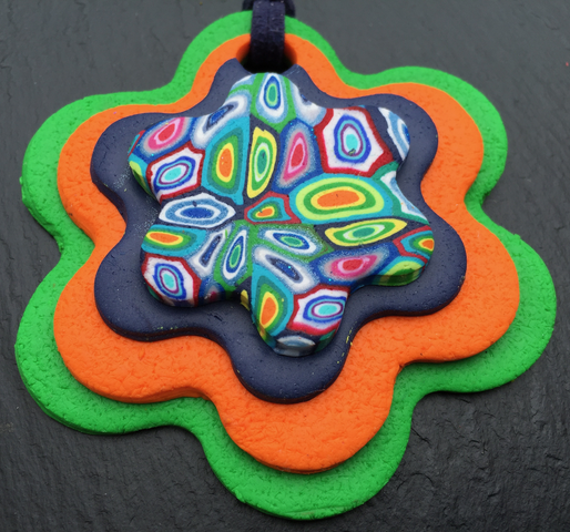 Green Psychedelic Flower Pendant
