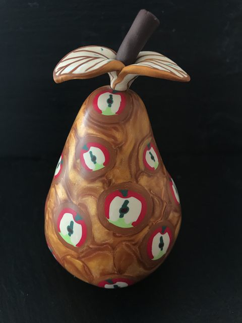 Golden Pear with Apples - 13cm x 7cm