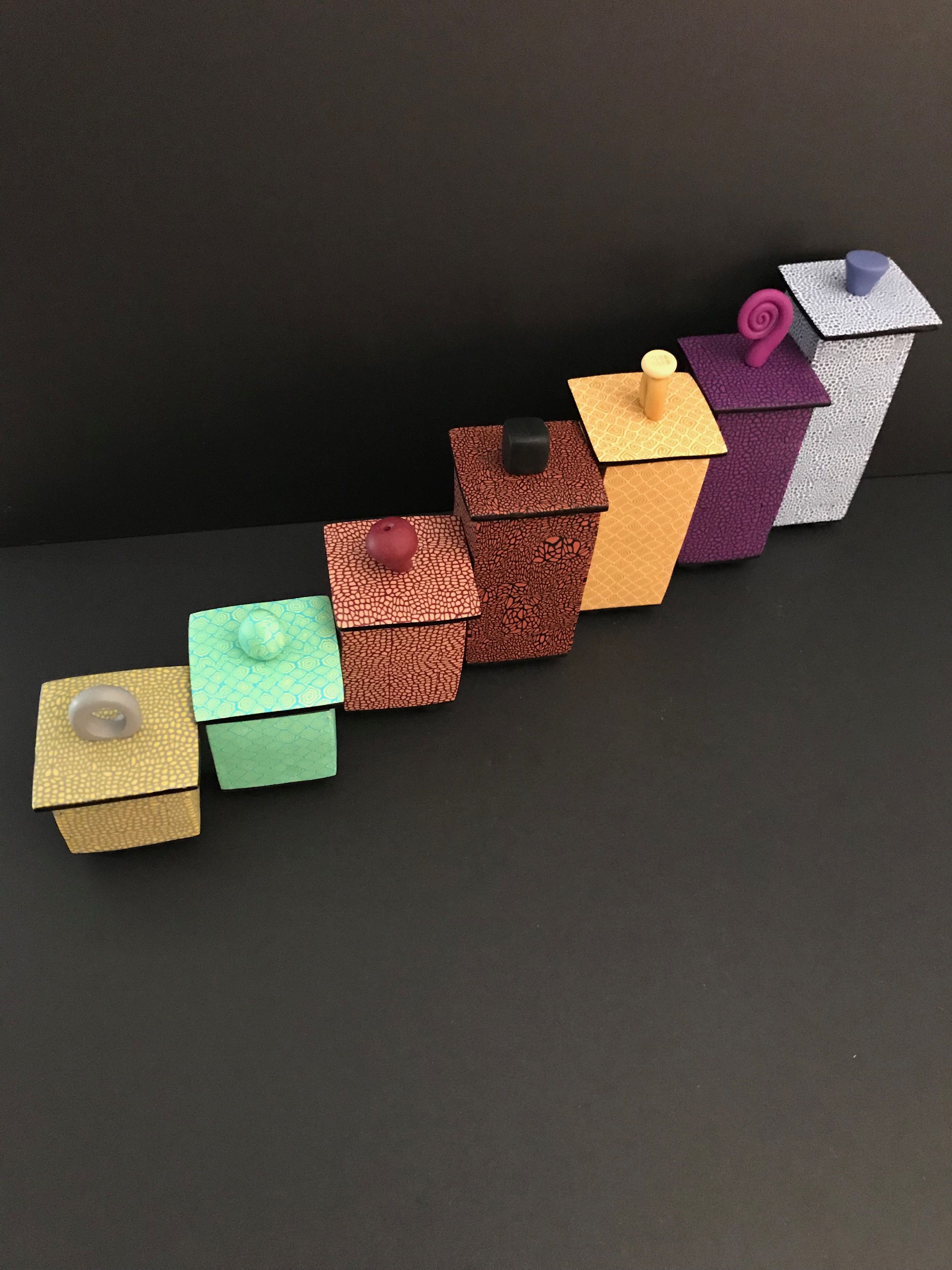Temple Boxes - These boxes were inspired by the shape of Japanese Temples seen on a resent visit. I like to think that they may be used to contain revered items.