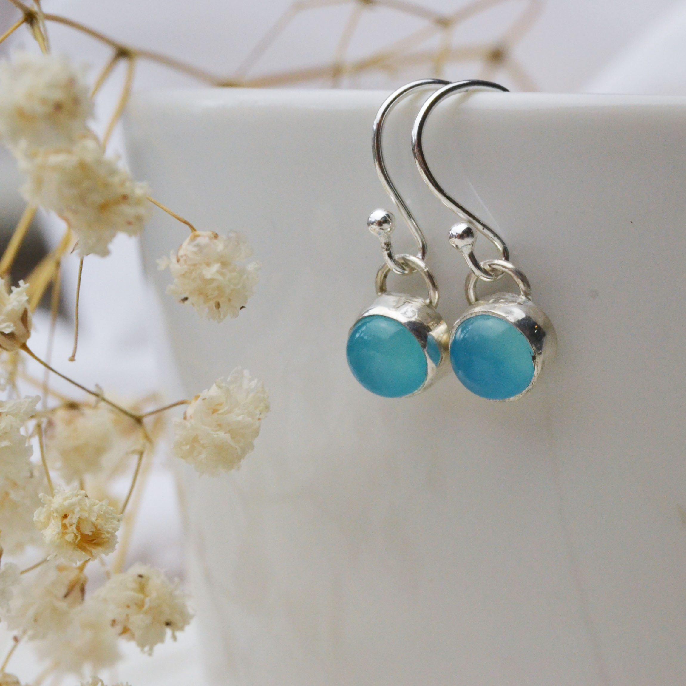 Birthstone/ gemstone dangle earrings in Sea Blue Agate