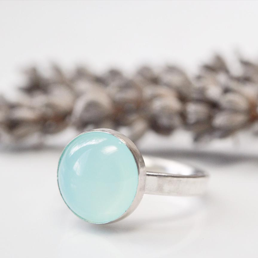 Sea Blue Agate ring in sterling silver