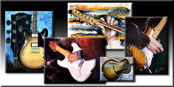 The GraphicGuitars Gallery contains hundreds of images of the guitar. Each began as an original in various media-Watercolor, color pencil, collage, airbrush, pencil, markers, acrylic, enamel, oil paint and splashes of duct tape, rusty metal, and cut paper. CLICK HERE