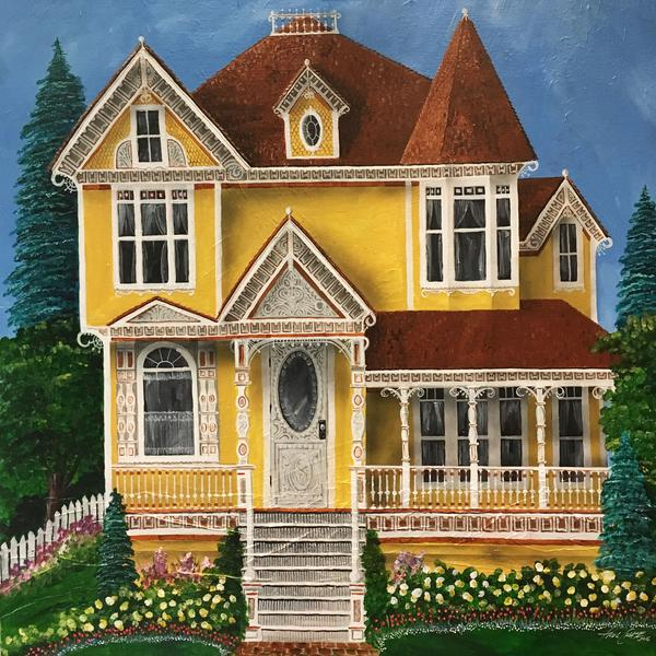 """PaintedLadyOchre"" - 48x48"" - acrylic on canvas - $3000"