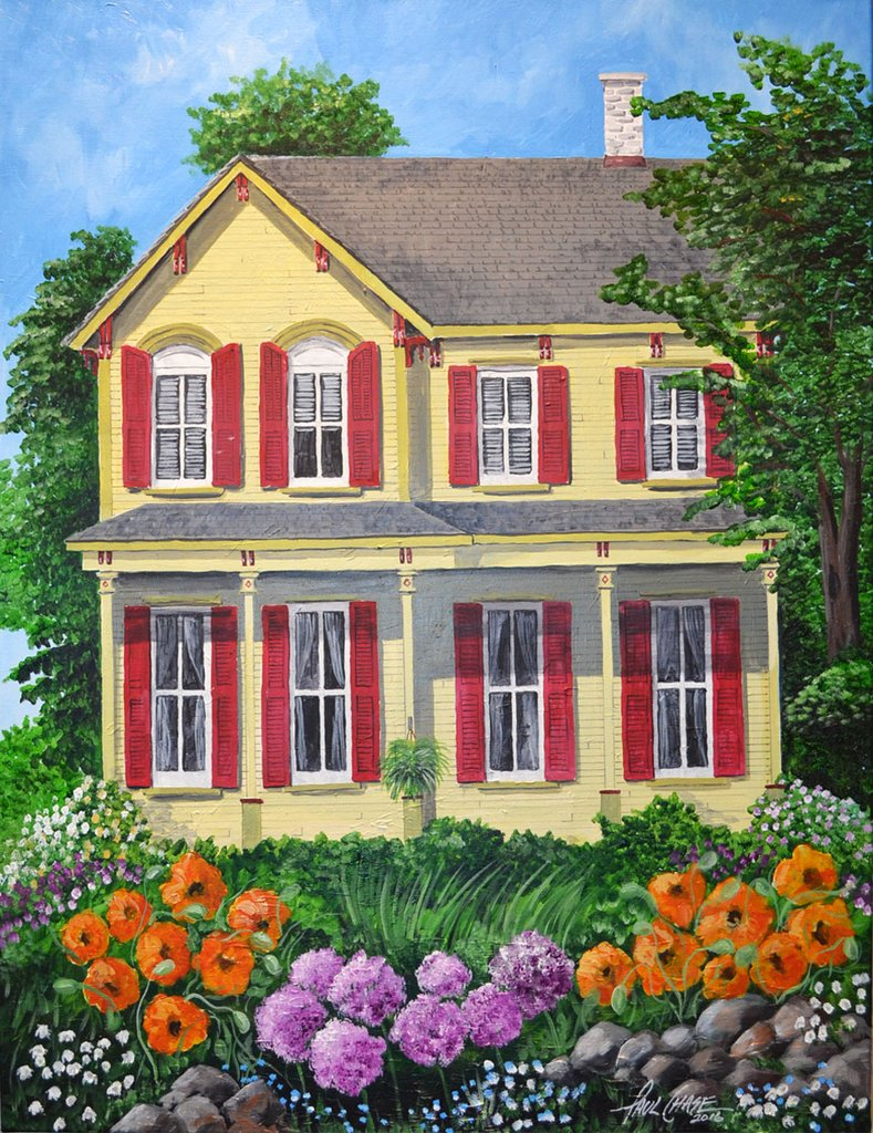 """""""FarmHouseFlowers"""" 28x34"""" acrylic on canvas - in private collection"""