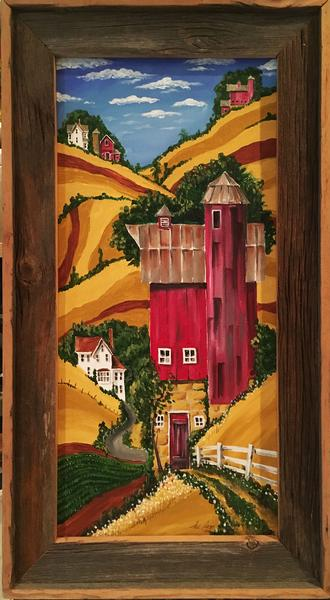 """""""FallField"""" - Acrylic on canvas, barn wood frame - in private gallery"""