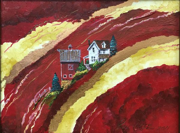 """HillsofRedandGold"" - 11x14"" oil on canvas/framed - $200"