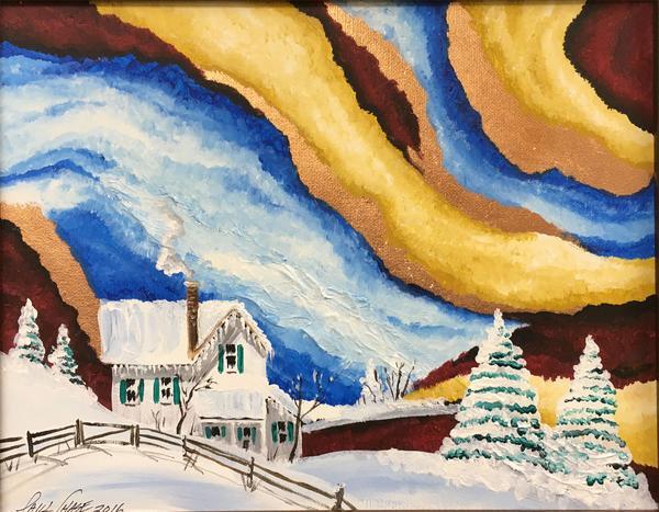 """""""StormySkysSnow"""" - 11x14"""" - oil on canvas/framed - $200"""