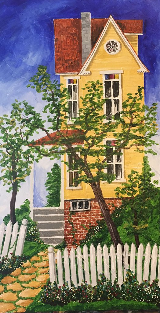 """""""HappyYellowHouse"""" - 24x48"""" - acrylic on canvas - in private collection"""