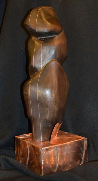 """CopperLines"" - 20"" - Black walnut wood, copper - $500"