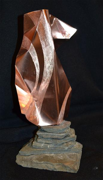 """EngravedPresentation"" - 14"" - copper and slate - in private collection"