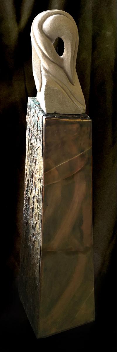 """LadyMadonna"" - 50"" - Limestone and copper - $2000"