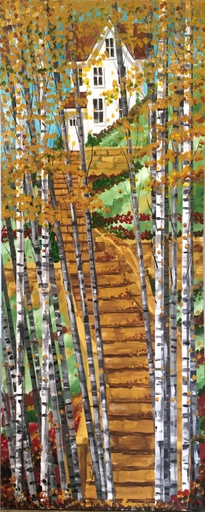 """""""BirchGroveSteps"""" - 36x18"""" - acrylic on canvas - in private collection"""