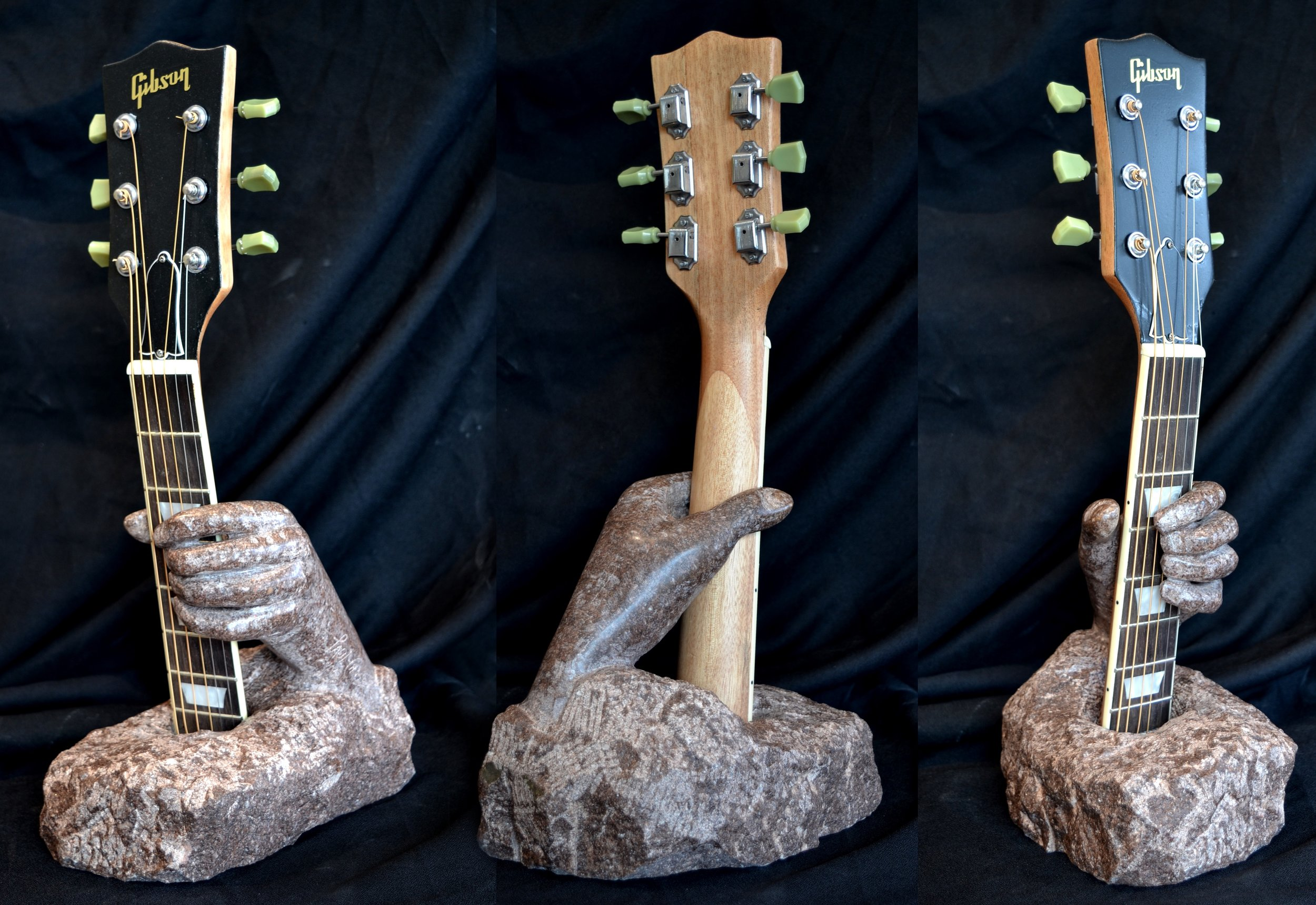 """Red Marble Gibson Player"" - 19x10x7"" - carved Red Tennessee Marble - $2000"