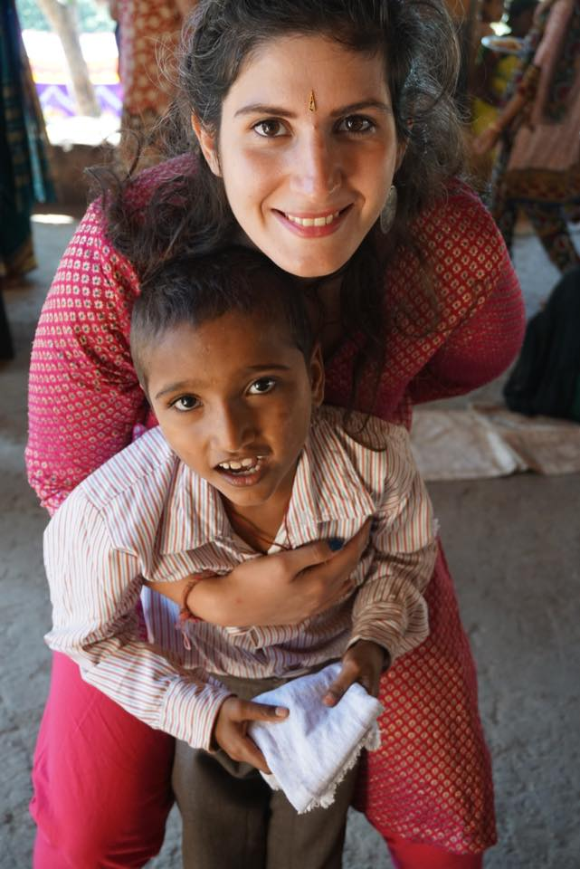 Iro with Shivanand-a kid from the music school in India.