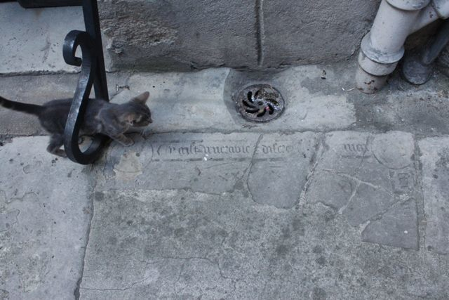 Tombstones used as paving stones.