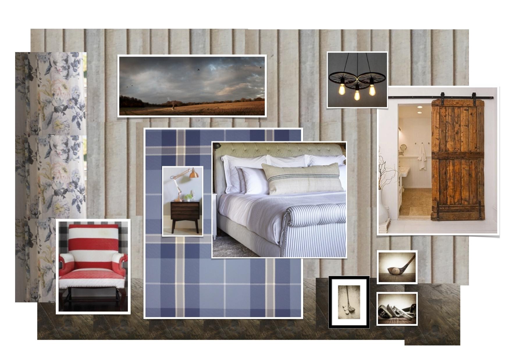 Hotelkonzept, Schlafzimmer, Landhausstil zeitgemäß, Country, Wandpaneele, Holz an der Wand, geblümter Vorhang