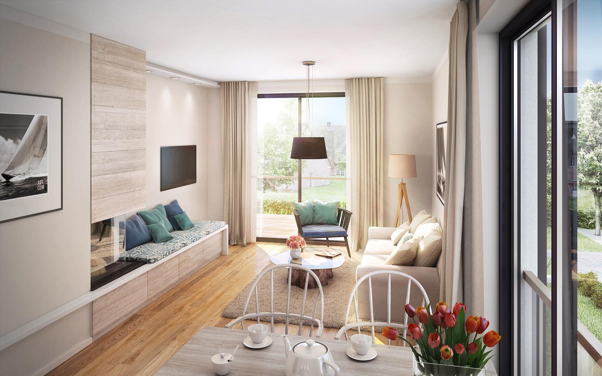 Wohnzimmer, Appartment an der Ostsee, gemütliche Kaminbank