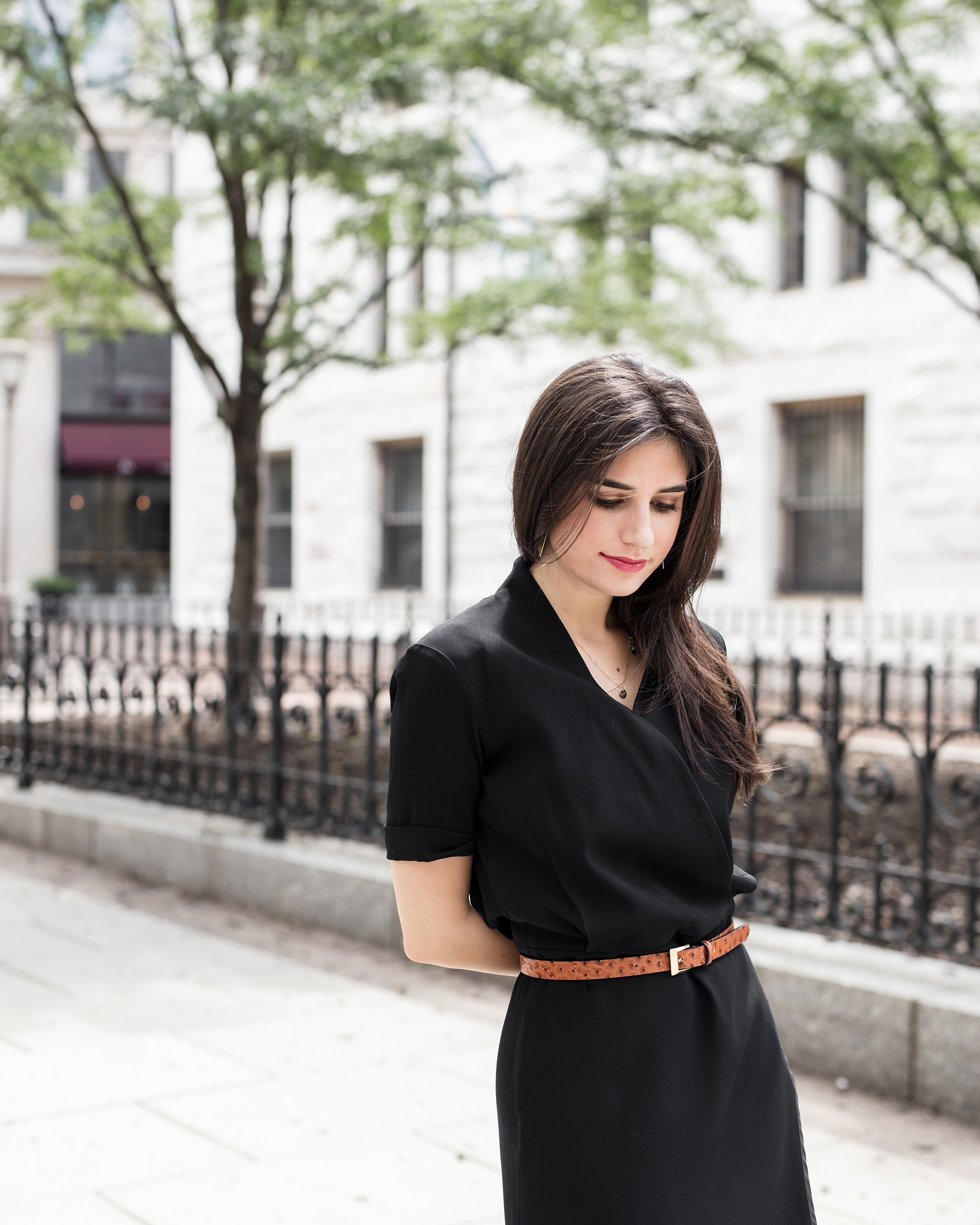 black dress and belt