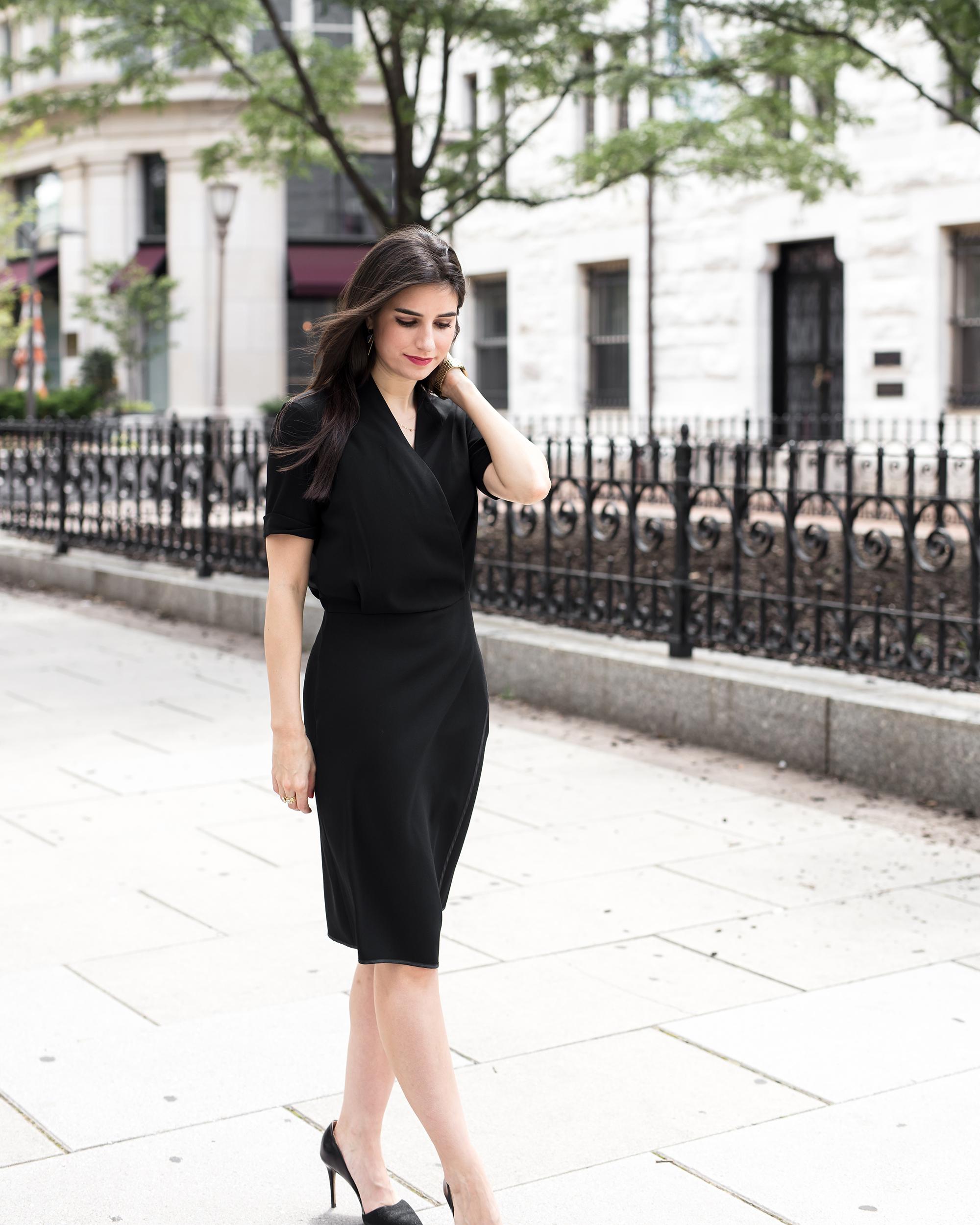 black dress walking