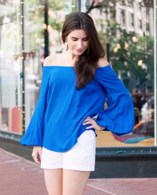 blue shoulderless top