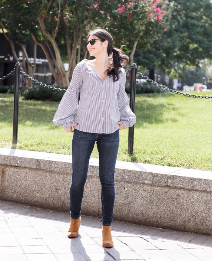 blue stripe blouse and jeans