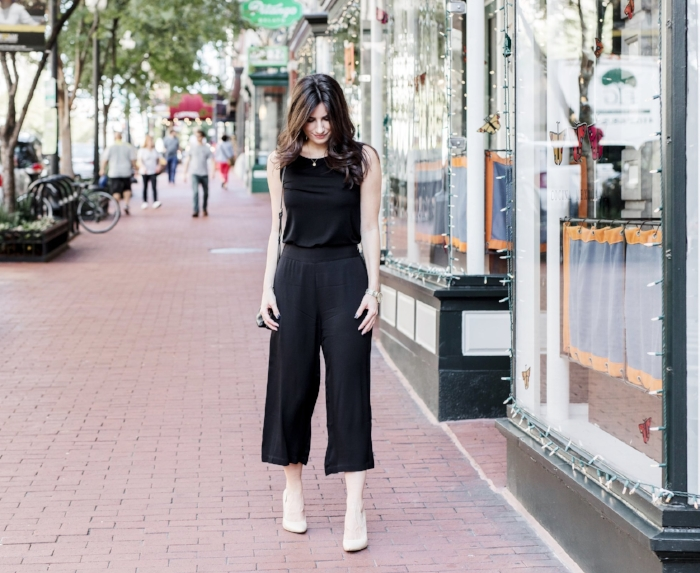 black top and culottes