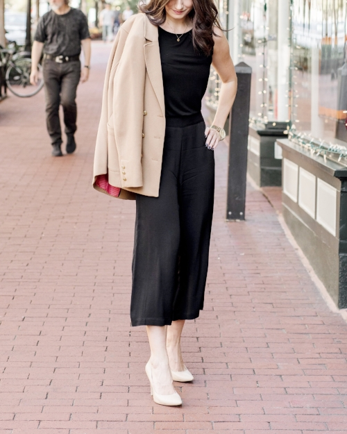 black culottes and tan blazer