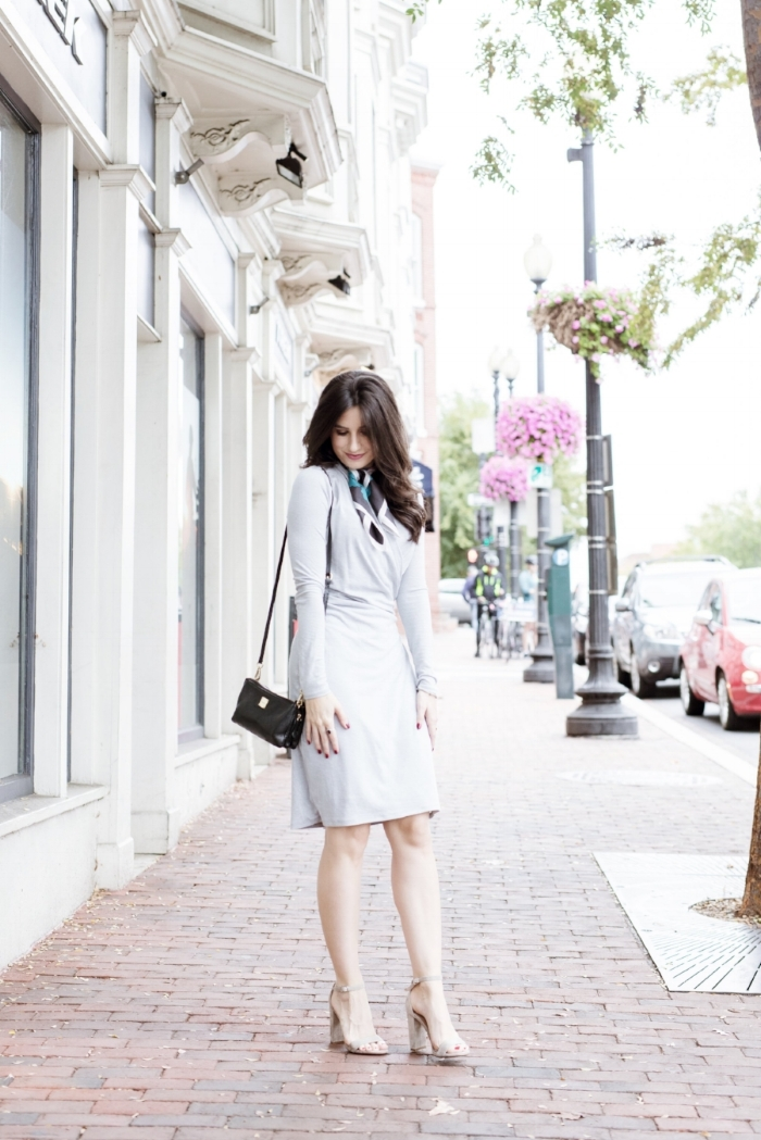 gray dress outfit