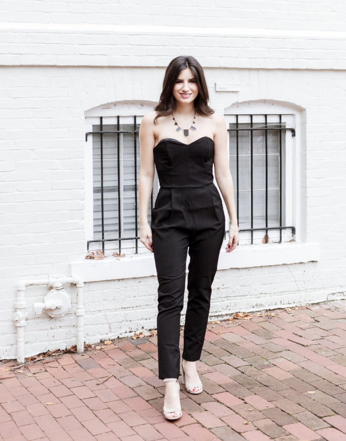 strapless formal black jumpsuit