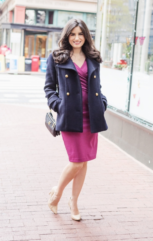 Navy Jacket and Purple Dress
