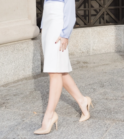 Nude Shoes with White Skirt For Work