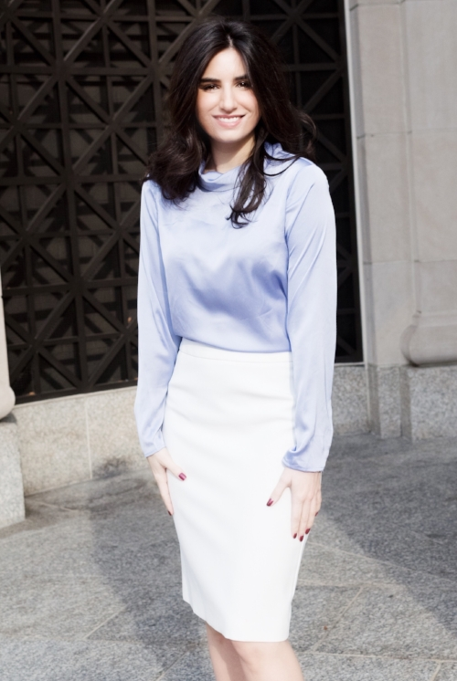 Pretty lavender and white outfit for work