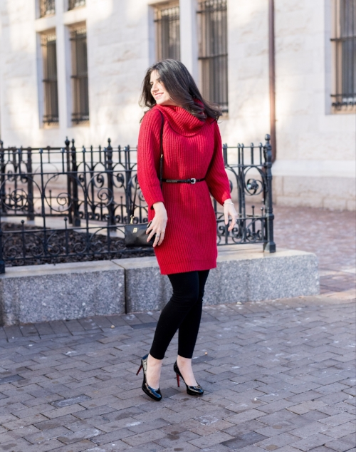 Easy Outfit: Red Sweater Dress with Black Leggings