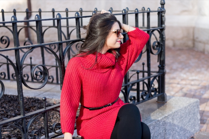 Press Red Sweater Dress Outfit Idea