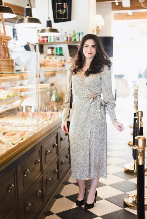 Silk dress in coffee shop