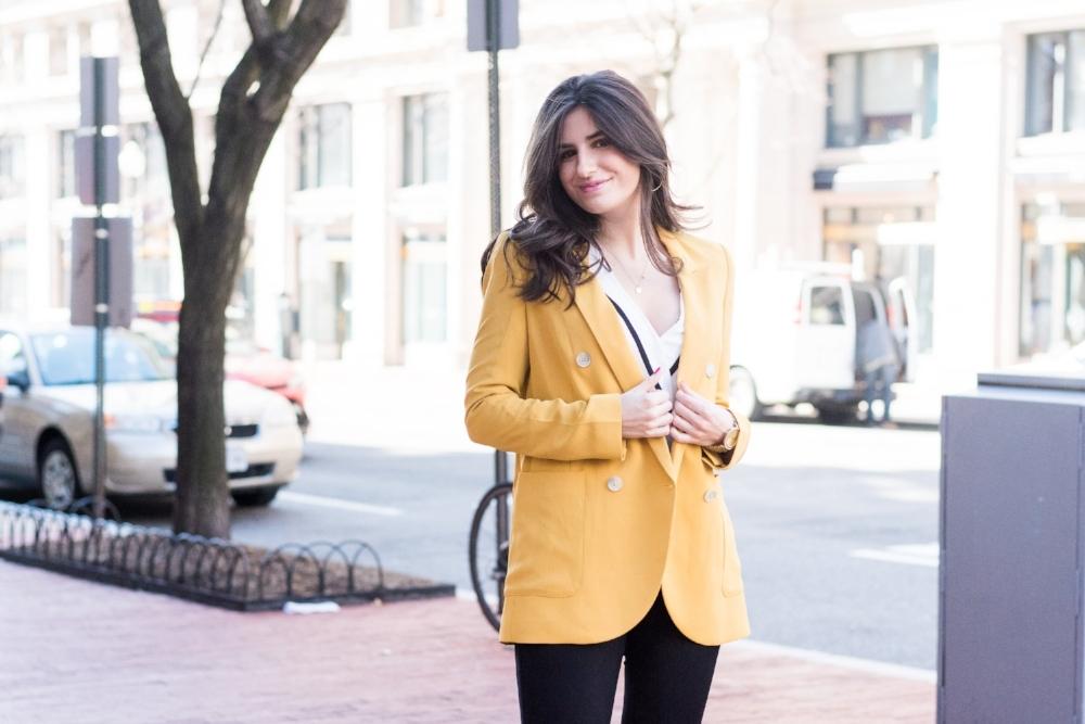 Yellow women's suit jacket