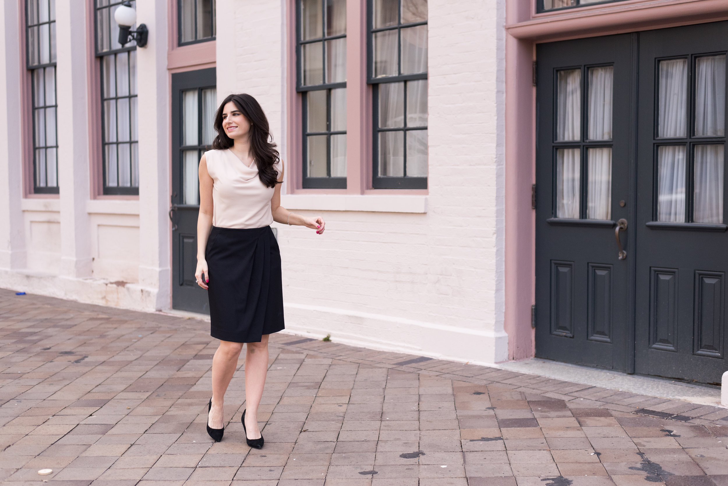 Pretty blush pink and black outfit for work