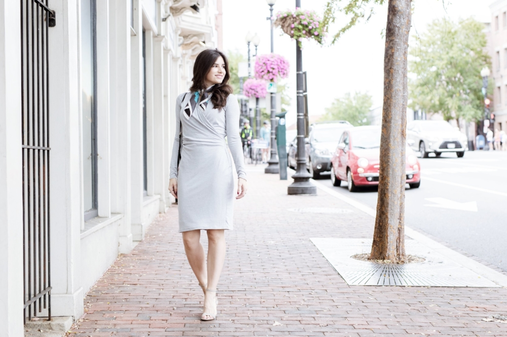 Pretty Gray Casual Dress for Work