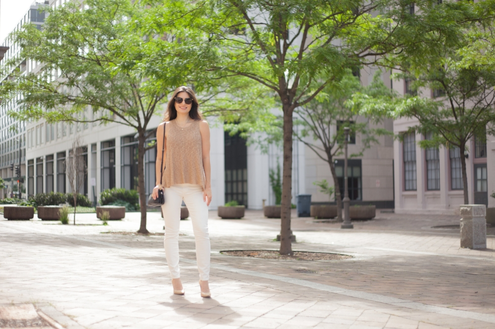 White Jeans and Tank Outfit for Summer