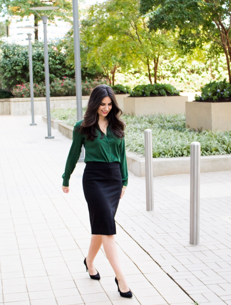 black skirt with green button down top