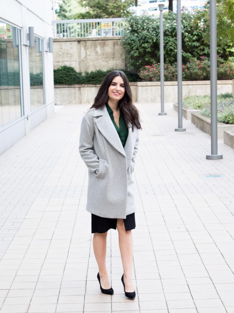 gray coat with black skirt