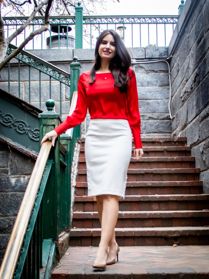 red blouse white skirt